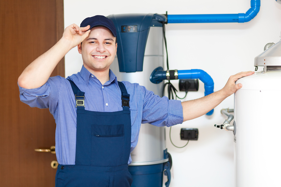HVAC techinician blue uniform greeting